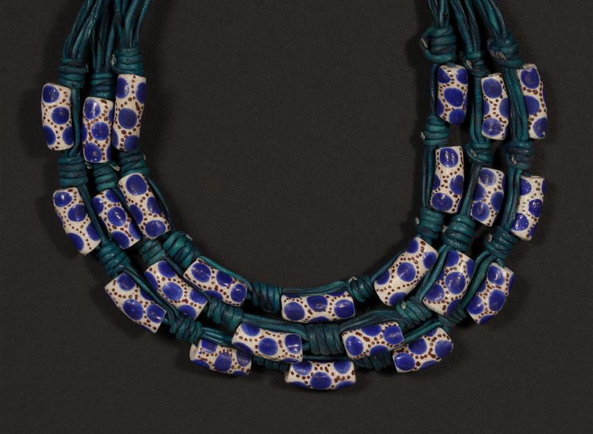 Handmade Necklace with Leather Strands and Krobo Powder Beads