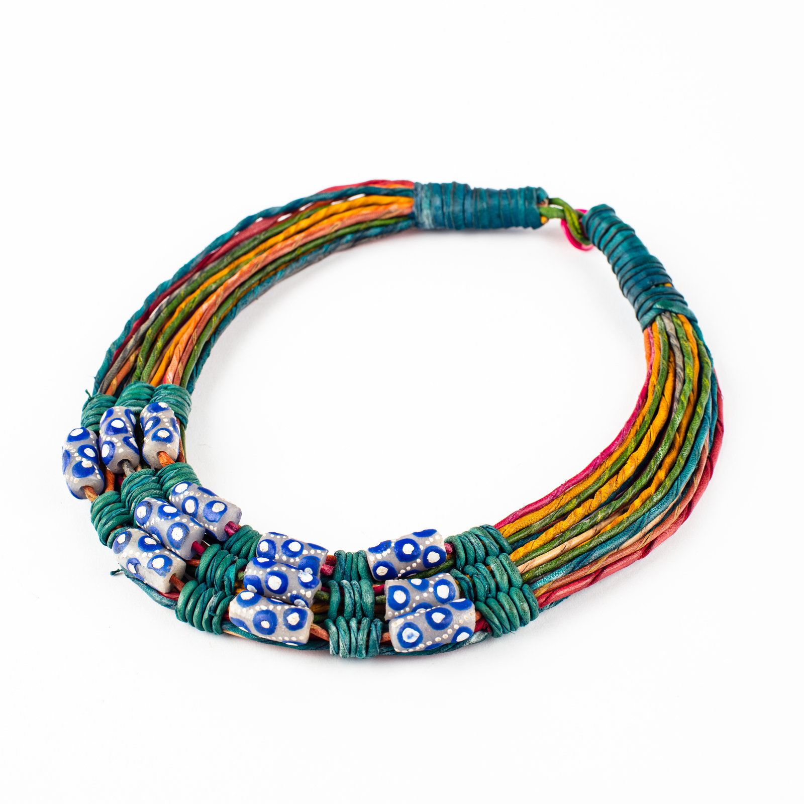 trade excavated antique dogon blue bead glass image beads dutch mali necklace cobalt products